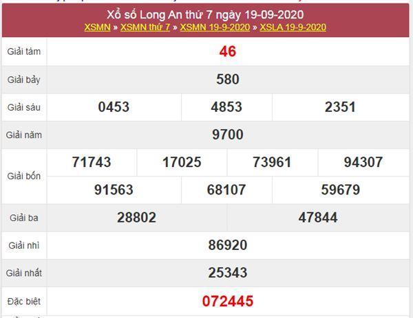 Dự đoán XSLA 26/9/2020 chốt KQXS Long An thứ 7