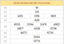 Dự đoán XSBL ngày 27/10/2020 - Soi cầu lô VIP xổ số Bạc liêu hôm nay